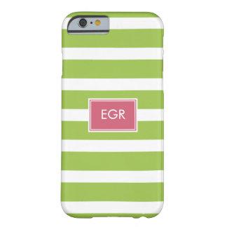Monogram Stripes iPhone 6 case (Green/Pink)