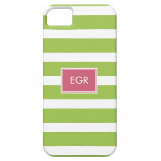 Monogram Stripes iPhone Cases (Green/Pink)
