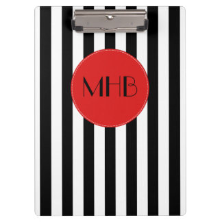 Monogram - Stripes, Parallel Lines - White Black Clipboard