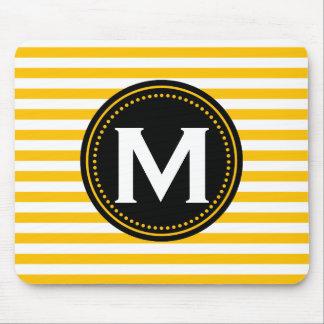 Monogram Stripes | Yellow White Black Mouse Pad