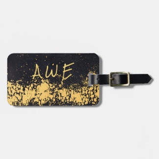 Monogram Stylish Black Faux Gold Modern Abstract Luggage Tag
