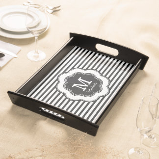 Monogram Stylish Black White Striped Serving Tray