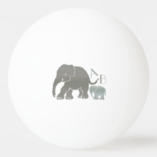 Monogram Stylish Gray and Olive Elephants Ping Pong Ball