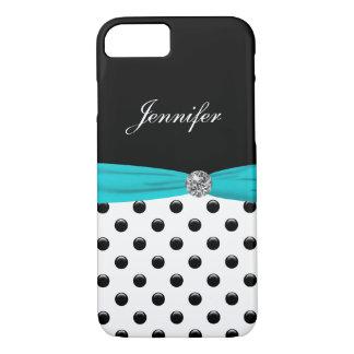 Monogram Stylish Polka Dot Turquoise iPhone 8/7 Case