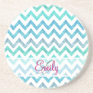 Monogram Summer Sea Teal Turquoise Glitter Chevron Coaster
