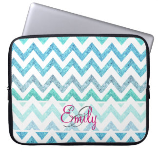 Monogram Summer Sea Teal Turquoise Glitter Chevron Laptop Sleeve