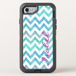 Monogram summer sea teal turquoise glitter chevron OtterBox defender iPhone 8/7 case