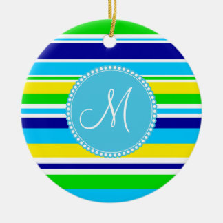 Monogram Summer Striped Teal Green Yellow Blue Christmas Ornament