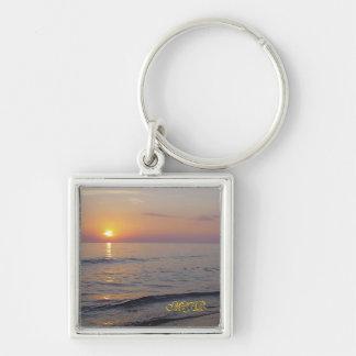 Monogram Sunset Beach Waves, Serene and Peaceful Key Ring