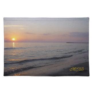 Monogram Sunset Beach Waves, Serene and Peaceful Place Mats
