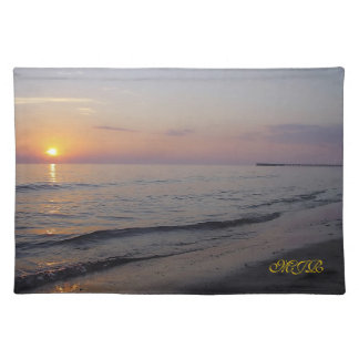 Monogram Sunset Beach Waves, Serene and Peaceful Placemat