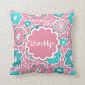 Monogram super cool girls pink and aqua floral cushion