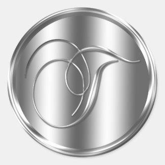 Monogram T Silver Color Round Sticker