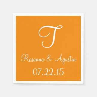 Monogram Tangerine Cool Color Coordinated Paper Serviettes