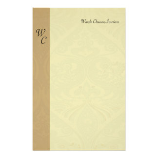 Monogram Taupe & Beige Pattern Letterhead Personalized Stationery