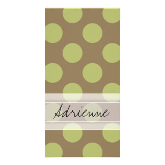 Monogram Taupe Olive Green Chic Polka Dot Pattern Photo Card Template