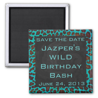 Monogram Teal and Brown Leopard Square Magnet