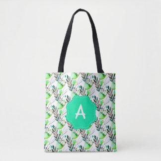 Monogram Teal and Green Watercolor Flowers Tote Bag
