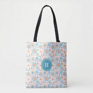 Monogram Teal and orange bursts of fireworks Tote Bag