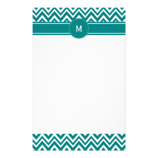 Monogram Teal and White Chevron Pattern Personalized Stationery