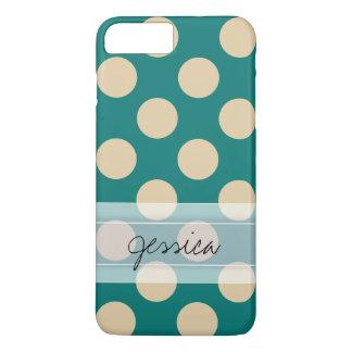 Monogram Teal Beige Chic Polka Dot Pattern iPhone 7 Plus Case