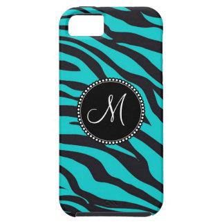 Monogram Teal Black Zebra Print Wild Animal Stripe iPhone 5 Cover