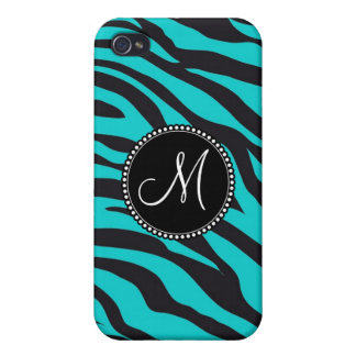 Monogram Teal Black Zebra Print Wild Animal Stripe Cases For iPhone 4