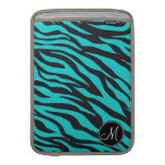 Monogram Teal Black Zebra Print Wild Animal Stripe MacBook Sleeves