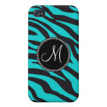 Monogram Teal Black Zebra Print Wild Animal Stripe iPhone 4/4S Covers