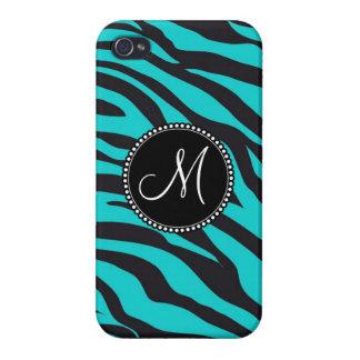Monogram Teal Black Zebra Print Wild Animal Stripe iPhone 4/4S Cover