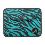 Monogram Teal Black Zebra Print Wild Animal Stripe Sleeve For MacBooks
