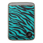 Monogram Teal Black Zebra Print Wild Animal Stripe Sleeve For MacBook Air