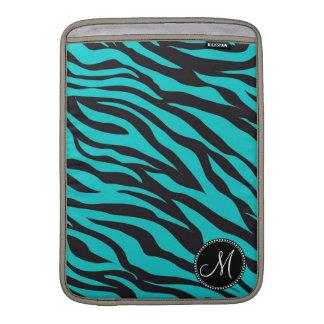 Monogram Teal Black Zebra Print Wild Animal Stripe Sleeve For MacBook Air