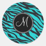Monogram Teal Black Zebra Print Wild Animal Stripe Round Sticker