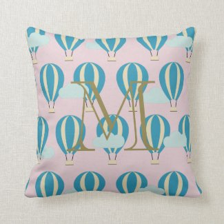 Monogram Teal Blue Hot Air Balloons Motifs