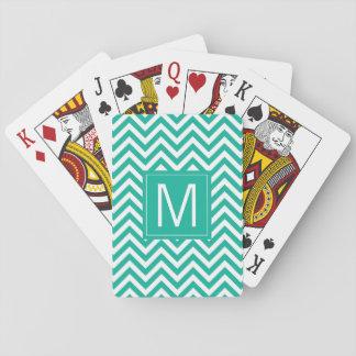 Monogram | Teal Chevron Pattern Playing Cards