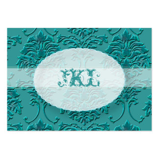 Monogram, teal damask chubby card pack of chubby business cards
