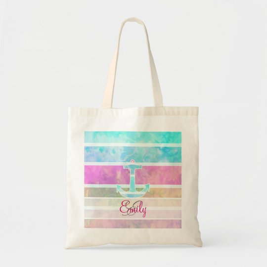 Monogram Teal Nautical Anchor Pastel Stripes Tote Bag