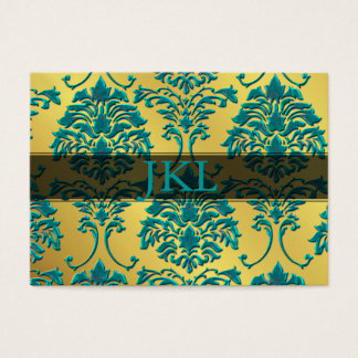 Monogram, teal on gold tone damask chubby card
