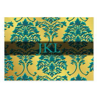 Monogram, teal on gold tone damask chubby card pack of chubby business cards