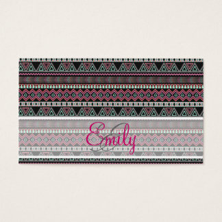 Monogram Teal Pink Black Aztec Tribal Pattern Business Card