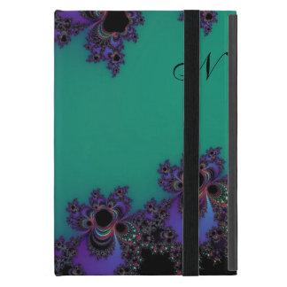Monogram Teal Purple Abstract Fractal Skins iPad Mini Cases