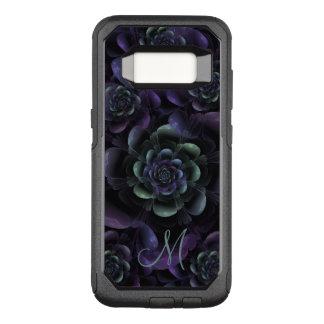 Monogram Teal Purple Lavender Black Floral OtterBox Commuter Samsung Galaxy S8 Case