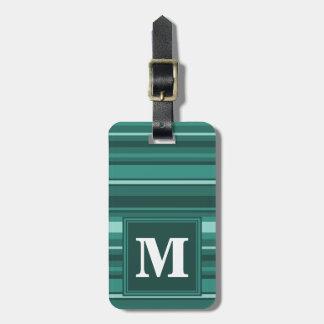 Monogram teal stripes luggage tag