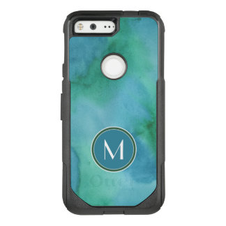 Monogram | Teal Watercolor OtterBox Commuter Google Pixel Case