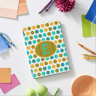 Monogram Teal Yellow Polka Dot iPad Pro Cover