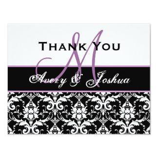 Monogram Thank You Black White Damask Purple Custom Invites