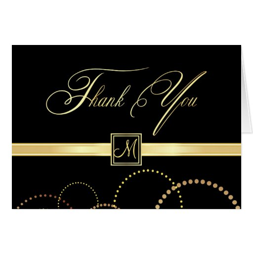 Monogram Thank You Cards - Black and Gold