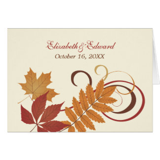 Monogram Thank You Note | Autumn Falling Leaves Card
