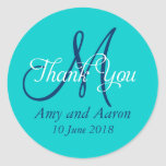 Monogram Thank You Wedding Favour Label Round Stickers
